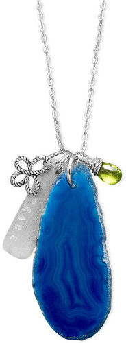 Macy&#039;s Sterling Silver Necklace, Blue Agate Slice Peace Pendant