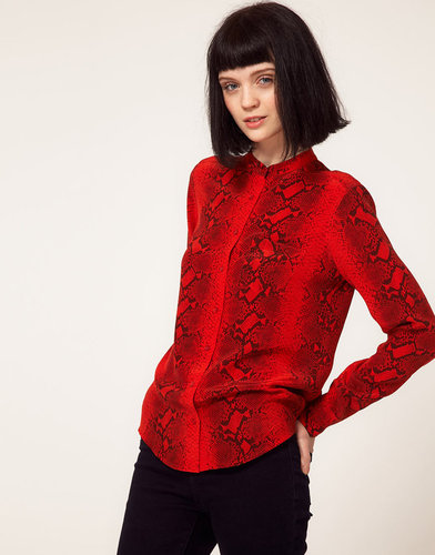 Equipment Brett Collarless Silk Shirt in Snake Print