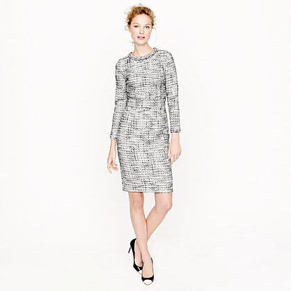 Long-sleeve tweed dress