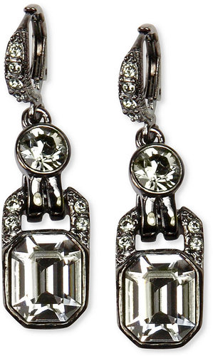 Givenchy Earrings, Light Hematite Tone Black Diamond Crystal Drop Earrings