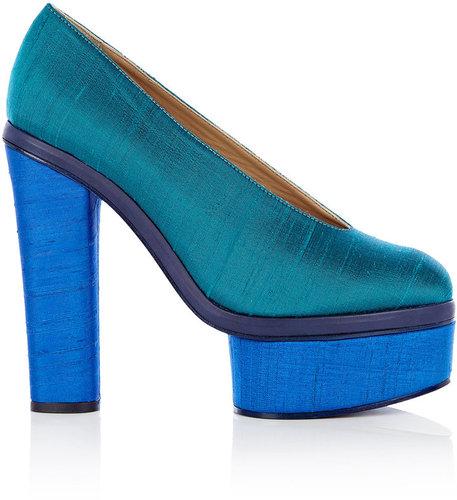 Acne Turquoise Alice Platform Silk Shoe