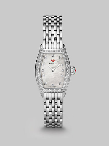 Michele Watches Diamond Accented Rectangular Stainless Steel Watch