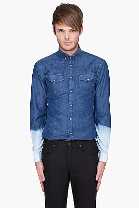 NEIL BARRETT Navy Bleached Denim Shirt