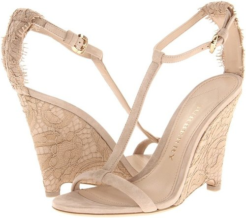 Burberry Lace T-Strap Wedge