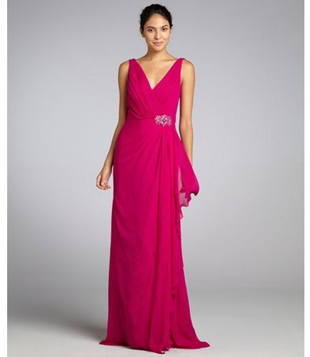 Badgley Mischka fuchsia silk chiffon v-neck embellished waist gown