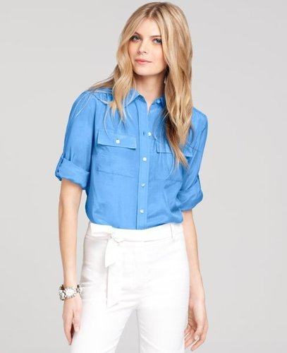 Silk Cotton Button Down Camp Shirt