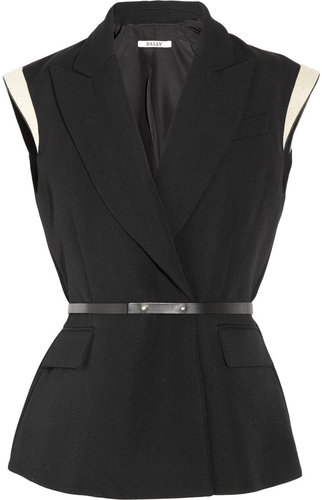 Bally Sleeveless wool-piqué blazer