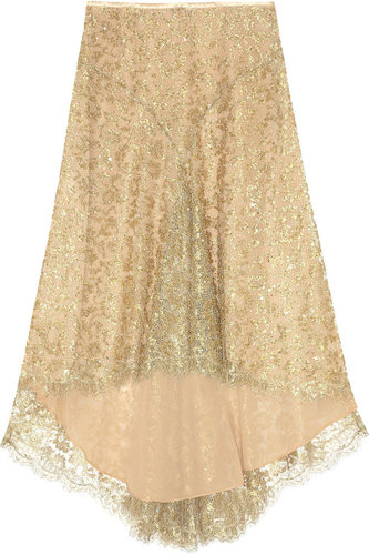 Michael Kors Bead and sequin-embellished metallic-lace skirt