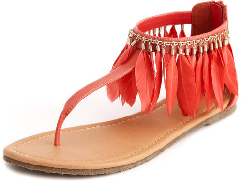 Boho Feather T-Strap Sandal