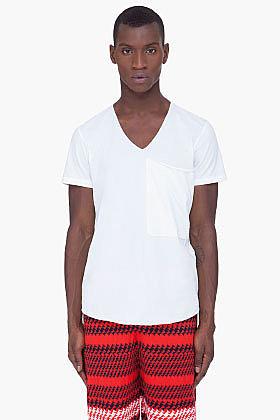 3.1 PHILLIP LIM White Drape Pocket T-Shirt