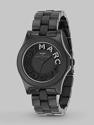 Marc by Marc Jacobs Black Stainless Steel & Plastic Link Bracelet Watch