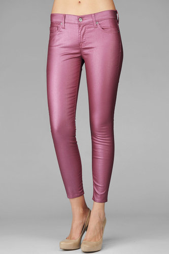 The Crop Skinny In Metallic Coated Pink