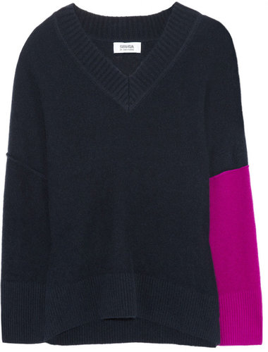 Sonia by Sonia Rykiel Color-block wool and raccoon-blend sweater