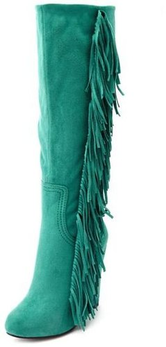 Sueded Fringe-Trim Wedge Boot