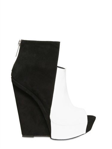 Gareth Pugh - 120mm Suede And Leather Wedges