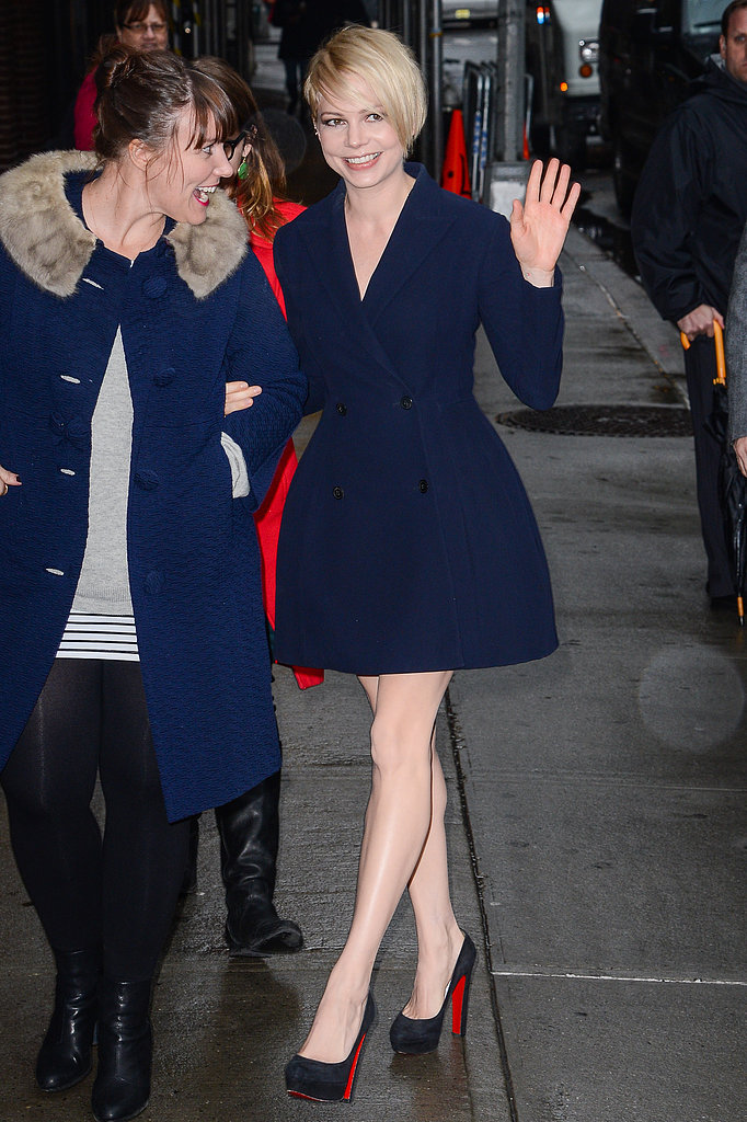 Michelle Williams wore Dior at the Late Show With David Letterman in New York.