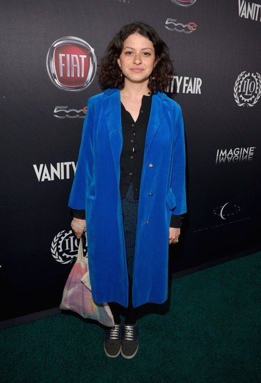 Alia Shawkat wore a long blue coat.