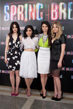 Rachel Korine, Vanessa Hudgens, Selena Gomez, and Ashley Benson posed together at the Spring Breakers photocall in Madrid.