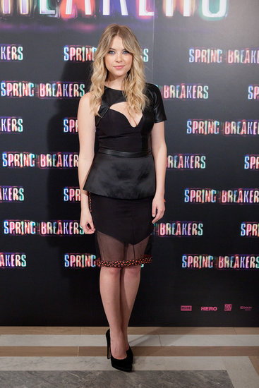 Ashley Benson wore a sheer number to the Spring Breakers photocall in Madrid.
