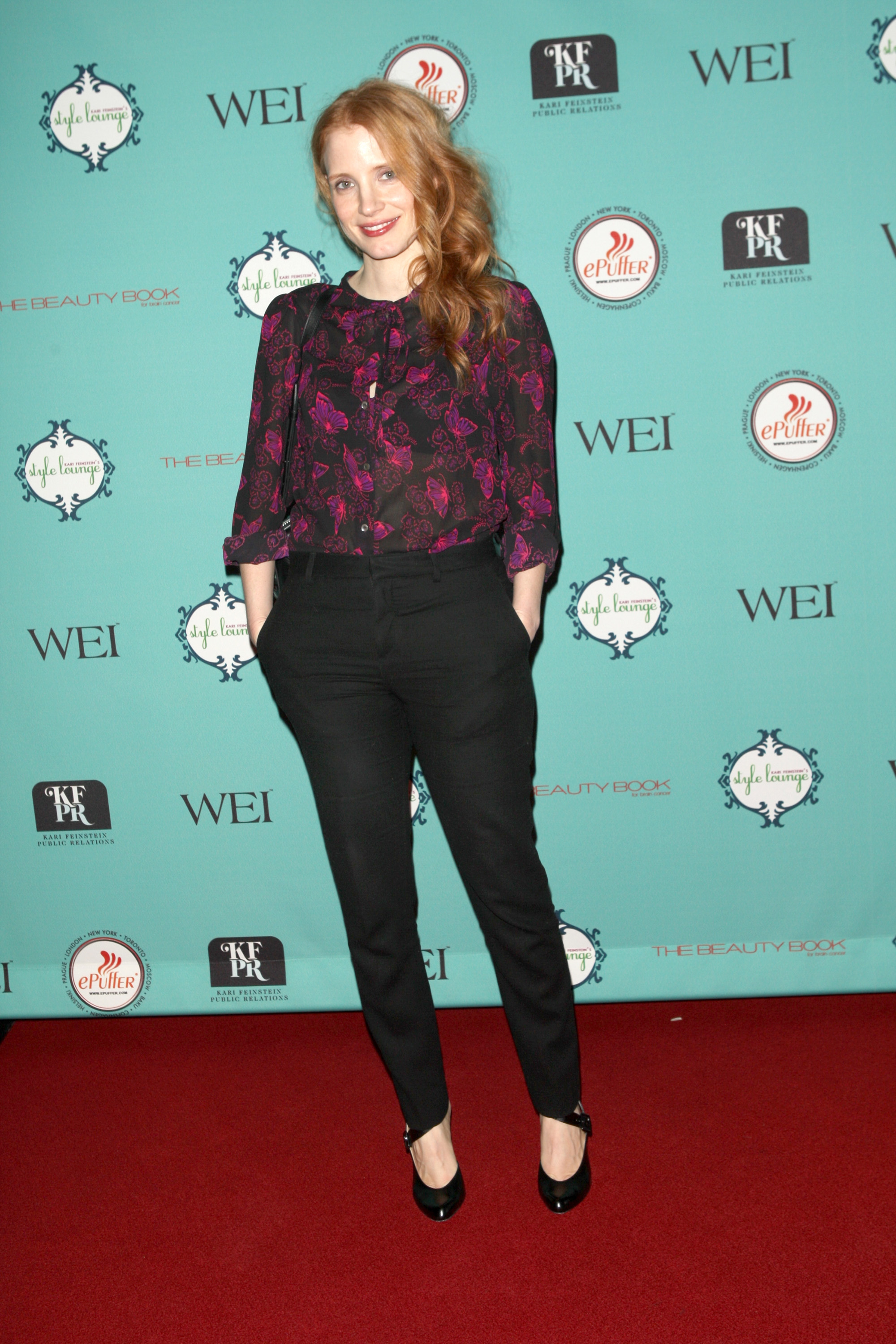 Jessica Chastain hit the red carpet at Kari Feinstein's pre-Academy Awards style lounge in LA on Thursday.