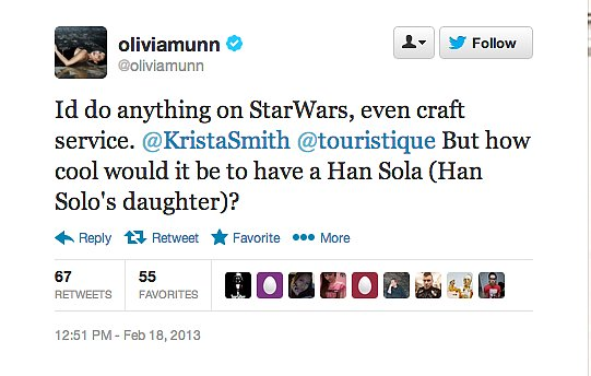 Actress Olivia Munn, like, really wants to be in the next Star Wars film.