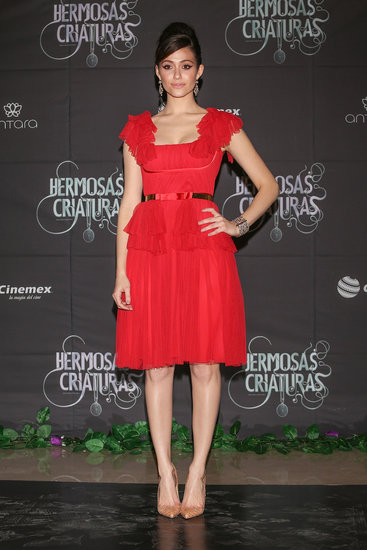 Emmy Rossum looked lovely in a red Zuhair Murad confection for another appearance promoting Beautiful Creatures in Mexico.
