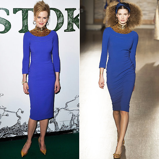 Our favorite red-carpet moment of the week might have gone to Nicole Kidman, who wore a blue L'Wren Scott dress the same day it debuted on the runway!