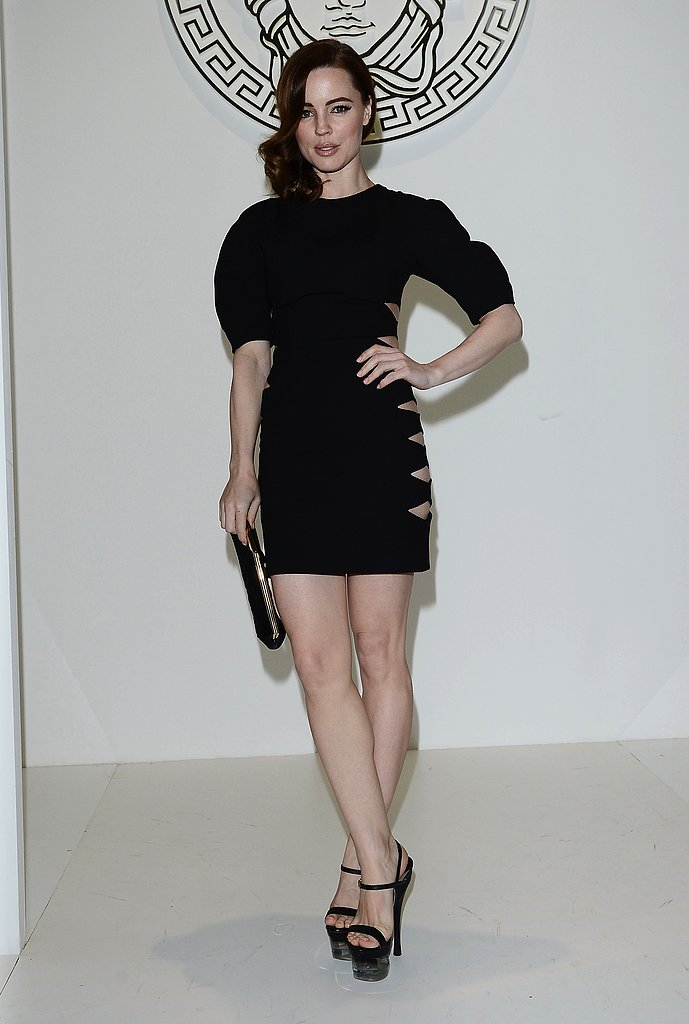 Melissa George also picked black for Versace. Hers was a Versus cutout minidress with voluminous sleeves and black platform sandals.