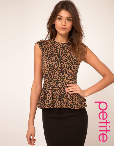 ASOS PETITE Top in Leopard Print with Peplum