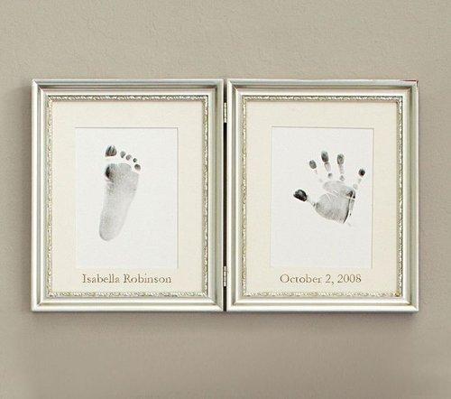 Silver Leaf Handprint Footprint Frame