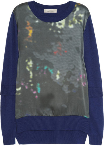 Preen Line Abstract Aline printed satin and knitted sweater