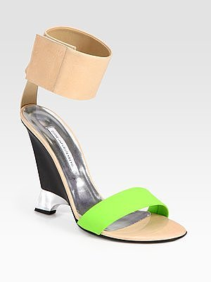 Diane von Furstenberg Elan Colorblock Leather Wedge Sandals