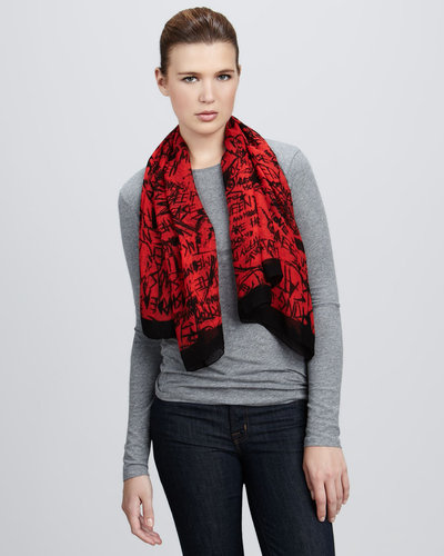 McQ Alexander McQueen Graffiti-Print Cotton-Silk Scarf, Blood Red