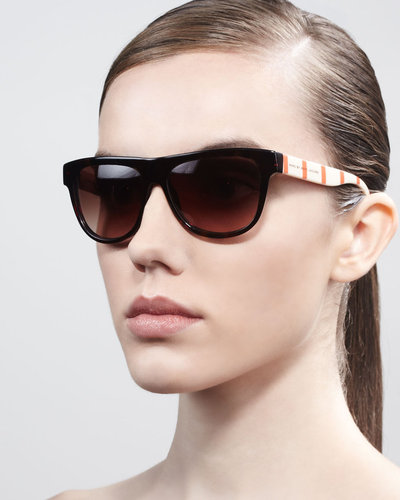 MARC by Marc Jacobs Contrast-Arm Enamel Sunglasses, Dark Havana