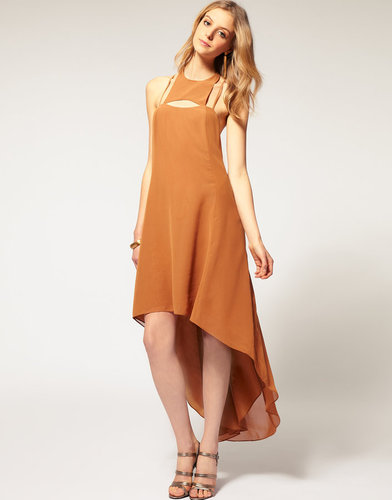 ASOS Dipped Midi Dress with Cut Out Neck