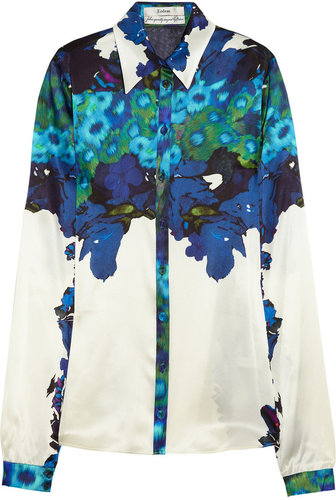 Erdem Cecilia printed silk-satin shirt