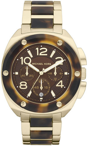 Michael Kors Watch, Women's Chronograph Tribeca Gold Tone Stainless Steel and Tortoise Acetate Bracelet 43mm MK5593