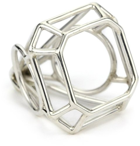 """Pure Dead Brilliant """"Kind Diamonds"""" Silver Cocktail Faceted Ring"""