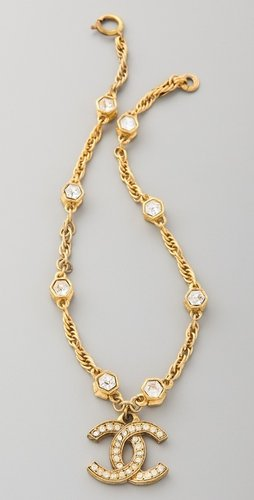 Wgaca Vintage Vintage Chanel CC Crystal Hexagon Choker