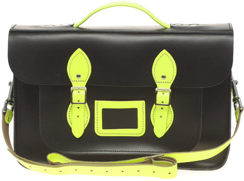 "The Leather Satchel Company NEON Large Leather Two Tone 14"" Satchel"