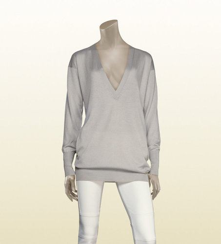Long Sleeve Oversize V-Neck Knit With Gucci Trademark Detail.