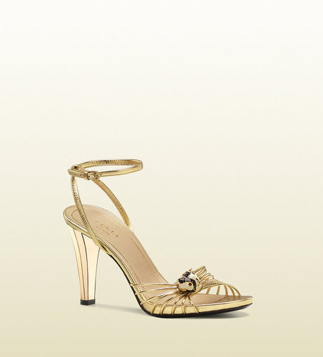 'lucille' Mid Heel Sandal With Tiger Head Ornament.