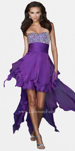 Purple High-low Prom Dresses by La Femme