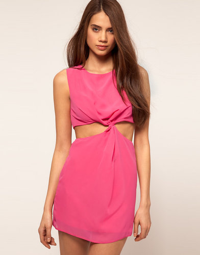 Rare Chiffon Cut Out Dress With Twist Front