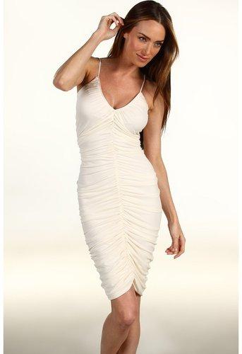 Halston Heritage - Ruched Front Dress W/1 Self Belt