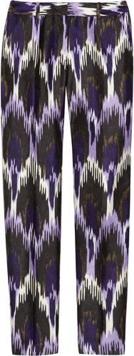 MICHAEL Michael Kors Cropped ikat-print silk-blend pants