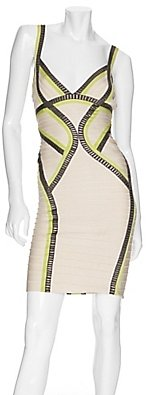 Herve Leger Exclusive Curved Colorblocked V Neck Bandage Dress