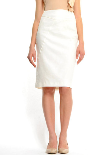 High-waist knee-length pencil skirt