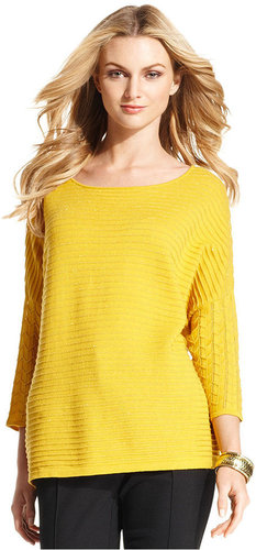 Alfani Sweater, Three-Quarter-Sleeve Metallic-Stripe