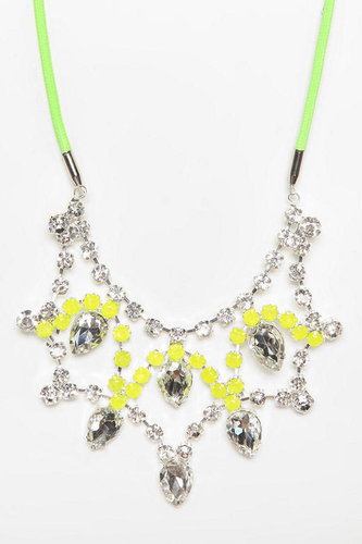 Rocks Paper Metal Crystal Tear-Drop Bib Necklace